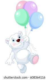 Cute polar bear flying with balloons