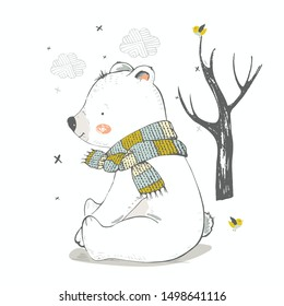 Cute polar bear in the forest. Hand drawn vector illustration.Can be used for t-shirt print, kids wear fashion design, baby shower invitation card.