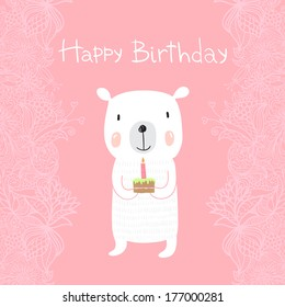 Cute polar bear holds a birthday cake with a candle. Greeting card Happy Birthday