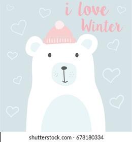 cute polar bear illustration, vector