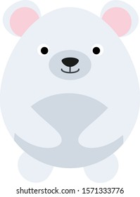 Cute polar bear isolate on white background. Vector illustration in cartoon style
