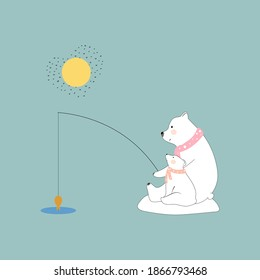 Cute Polar bear Mommy and child fishing together with smiling face,Family bear Dad and cub catching fish in sunny day in sunny day,Greeting card for Baby shower, kid birthday,Mother day or Father day