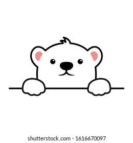 Cute polar bear paws up over wall, polar bear face cartoon icon, vector illustration