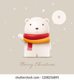 Cute polar bear say hi. Vector character illustration. Elements are layered separately in vector file.