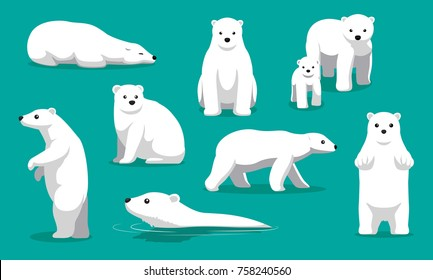 Cute Polar Bear Swimming Cartoon Vector Illustration
