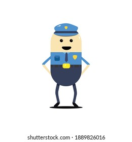 Cute police man cartoon working in uniform standing happy. with cartoon style vector design. isolated on white background