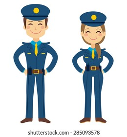 Cute police man and woman agents working in uniform standing happy
