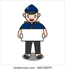 cute police mascot with information board, funny police cartoon character on white background, design eps 10