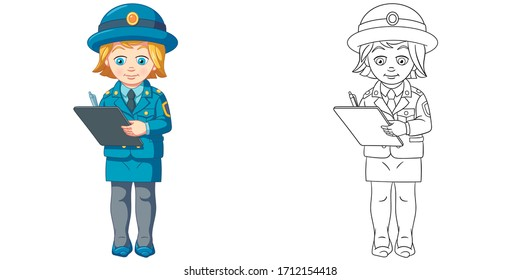 clipart police images stock photos vectors shutterstock https www shutterstock com image vector cute police woman writing report coloring 1712154418