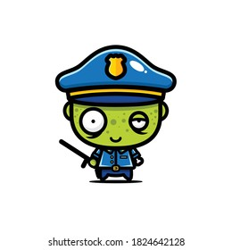 cute police zombie vector design