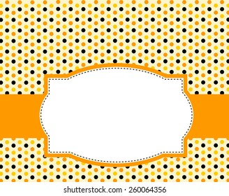 Cute polka dots design with orange and black doodle frame / border specially for halloween party invitations