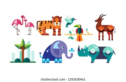 Cute polygonal African animals set, flamingo, tiger, antelope, parrot, elephant, rhino vector Illustration on a white background
