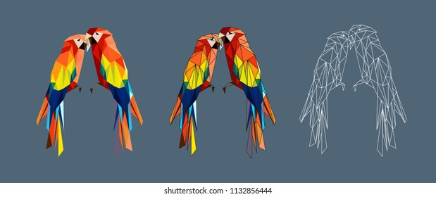 Cute polygonal parrots