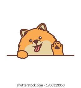 Cute pomeranian dog waving paw cartoon, vector illustration