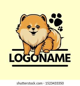 cute pomeranian logo, cartoon vector