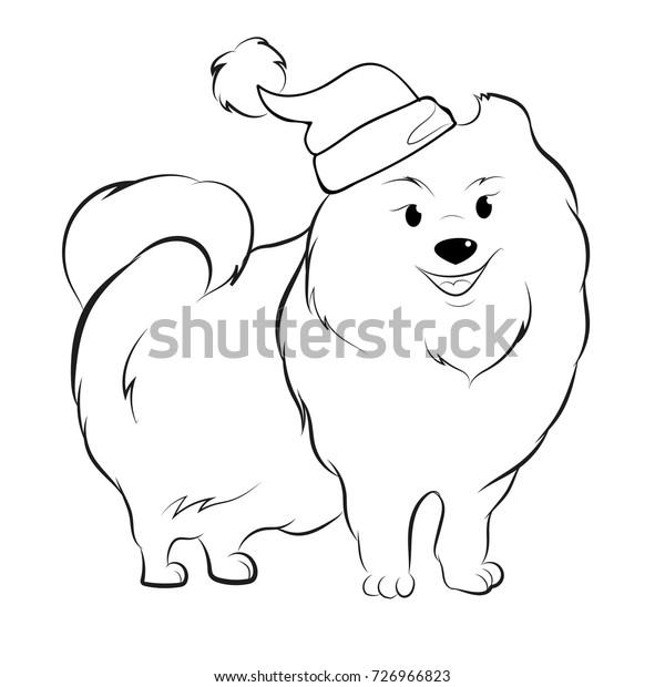 Cute Pomeranian Santa Coloring Page Stock Vector (Royalty ...
