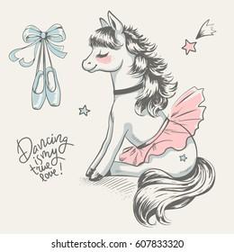Cute pony ballerina cartoon hand drawn vector illustration. Can be used for t-shirt print, kids wear fashion design, baby shower invitation card.
