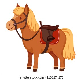 cute pony in harness with saddle. cartoon vector illustration