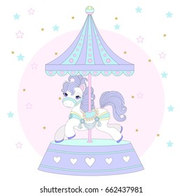 Cute pony on a beautiful background. Carousel.Vector illustration.