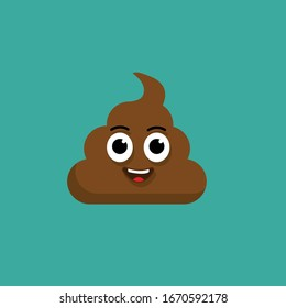 cute poop character with eyes .vector illustration.isolated on black background.
