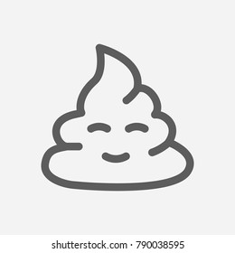 Cute poop emoji icon line symbol. Isolated vector illustration of humor shit sign concept for your web site mobile app logo UI design.