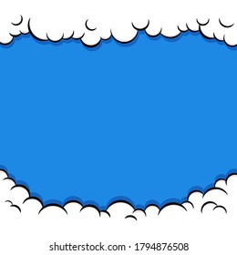 Cute Pop art Comic Background with Cloud and shine bright Vector Illustration. Comic book cartoon speech bubble for text. Cartoon puff cloud background for text template. Kids background.