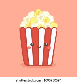 Cute Pop Corn Popcorn in Red Bucket Box Cinema Snack Vector Illustration Cartoon Character Icon