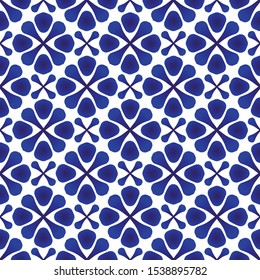 cute porcelain pattern, Chinaware seamless decor, indigo wallpaper, Chinese ceramic background, blue and white pottery modern backdrop for design tile, texture, fabric, textile, vector illustration