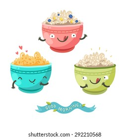 "Cute porridge characters and ""Good morning!"" ribbon. Healthy breakfast concept. Vector colorful illustration with three bowls of oatmeal, berries, bananas and cereals isolated on white"