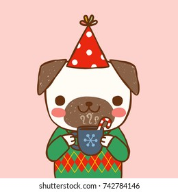 Cute portrait dog wearing sweater, party hat and holding cup of hot chocolate. Greeting card, postcard, party invitation, poster for christmas and new year. Flat design. Vector illustration.
