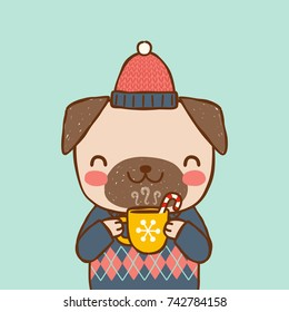 Cute portrait dog wearing sweater, knitted hat and holding cup of hot chocolate. Greeting card, postcard, party invitation, poster for christmas and new year. Flat design. Vector illustration.