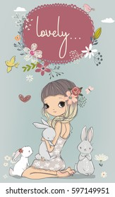 cute portrait of little girl with white hares