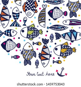 Cute postcard with decorative fish.