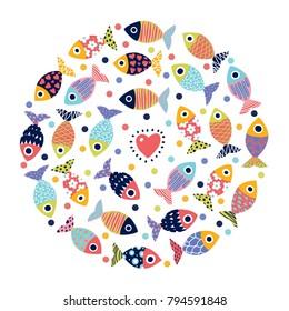 Cute postcard with decorative fish. Around motif.
