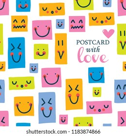 Cute postcard with happy faces.