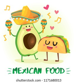 Cute postcard Illustration with funny food characters. Love, music and hearts.Mexican traditional food - hot spicy tacos with funny face and avocado in sombrero with maracas.