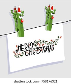 cute poster with comic green vector clothespin christmas deer, red nose, lovely eyes, antlers, hat rope and paper with hand written text merry christmas.  great poster for christmas party invitation