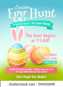 Cute poster for Easter Egg Hunt  with colored eggs and ears of a rabbit. Vector template for banners, flyers and invitation cards