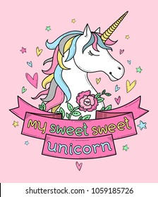 """Cute poster, label, greeting card or apparel print with unicorn, flowers, hearts and pink on violet background. Lettering 'My sweet sweet unicorn"""". Cartoon character. Doodle vector illustration."""