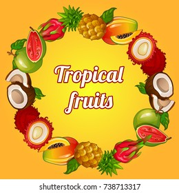 Cute poster with set of ripe whole and sliced tropical fruit. Card, placard or banner on theme of healthy food and fitness diet. Sketch cover for cookbook or cocktail recipes. Vector cartoon close-up.