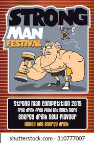 Cute poster template, illustration of a bodybuilder and annoying bee lifting weights