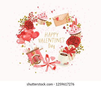 cute poster, valentines day greetings, heart shape frame, vector illustration, wallpaper. Flyers, invitation, poster, brochure, banner.