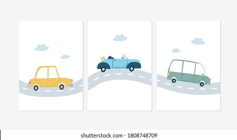 Cute posters with cars  vector prints for baby room, baby shower, greeting card, kids and baby t-shirts and wear. Hand drawn nursery