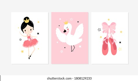 Cute posters with little ballet girl, swan and shoes vector prints for baby room, baby shower, greeting card, kids and baby t-shirts and wear. Hand drawn nursery