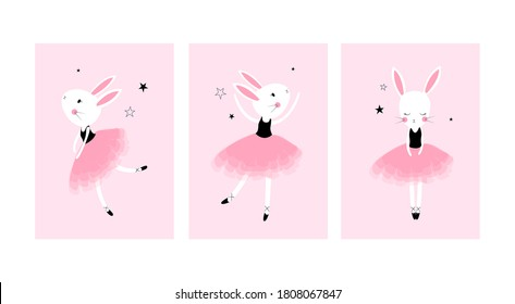 Cute posters with little ballet rabbits vector prints for baby room, baby shower, greeting card, kids and baby t-shirts and wear. Hand drawn nursery