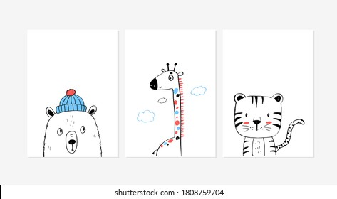 Cute posters with the little bear, giraffe, and tiger vector prints for baby room, baby shower, greeting card, kids and baby t-shirts, and wear. Hand drawn nursery