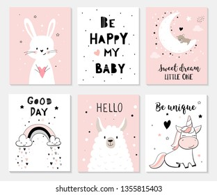 Cute posters with little bunny, lama, unicorn, vector prints for baby room, baby shower, greeting card, kids and baby t-shirts and wear. Hand drawn nursery illustration.