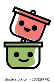 Cute pot characters stick together for potluck - vector