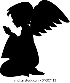 Cute Praying Angel Silhouette