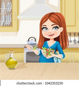 Cute pregnant woman eating fresh salad on beige interior of kitchen